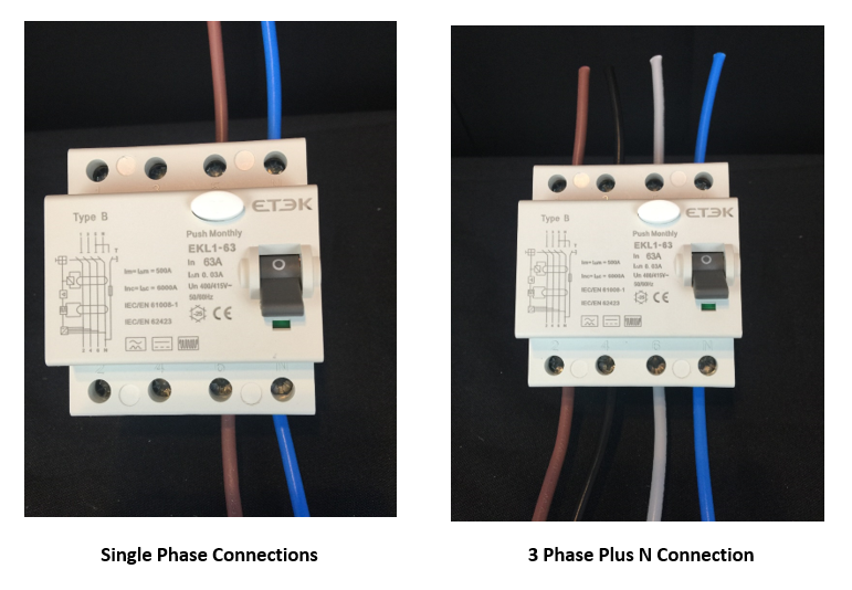 Single phase and 3 phase Type B RCD